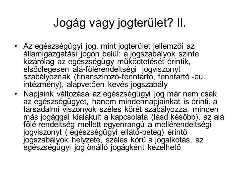 Jogág vagy jogterület II.