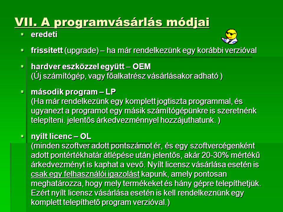 VII. A programvásárlás módjai