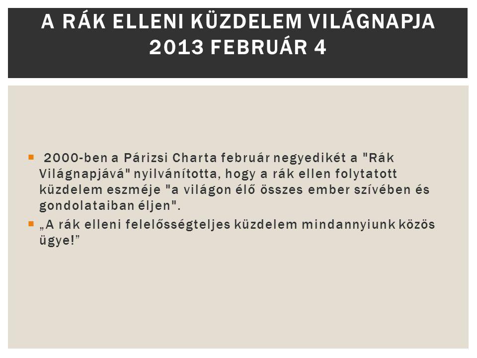 A rák elleni küzdelem Világnapja 2013 Február 4
