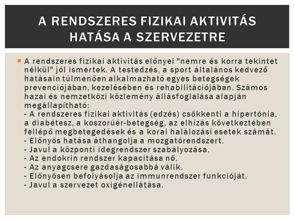 A RENDSZERES FIZIKAI AKTIVITÁS HATÁSA A SZERVEZETRE