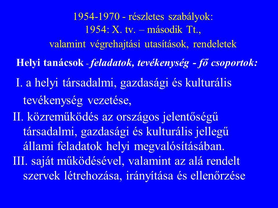 I. a helyi társadalmi, gazdasági és kulturális tevékenység vezetése,