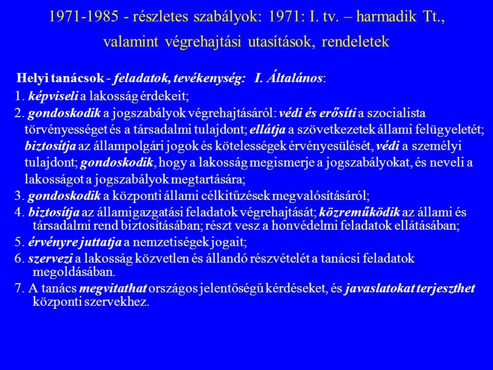 1971-1985 - részletes szabályok: 1971: I. tv. – harmadik Tt
