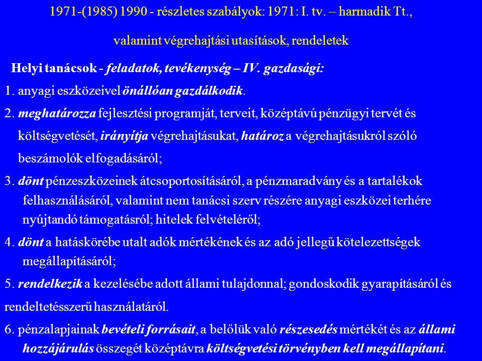 1971-(1985) 1990 - részletes szabályok: 1971: I. tv. – harmadik Tt