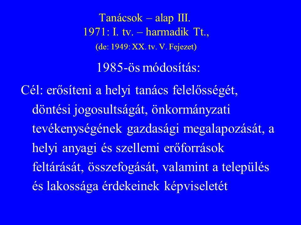 Tanácsok – alap III. 1971: I. tv. – harmadik Tt., (de: 1949: XX. tv. V. Fejezet)