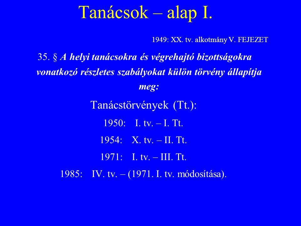 Tanácsok – alap I. 1949: XX. tv. alkotmány V. FEJEZET.
