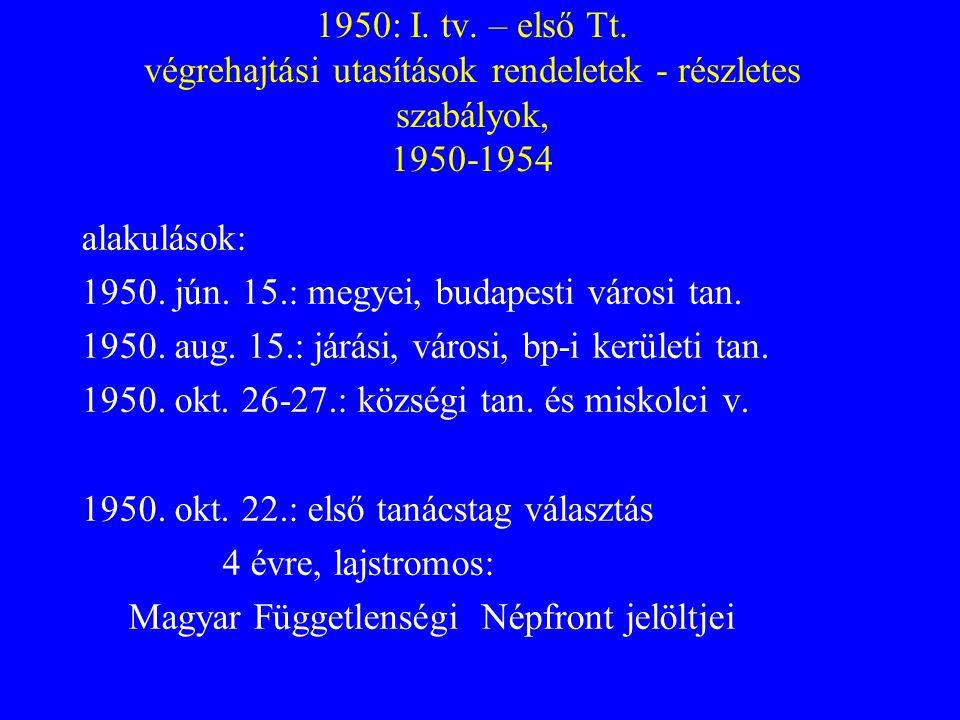 1950: I. tv. – első Tt. végrehajtási utasítások rendeletek - részletes szabályok, 1950-1954
