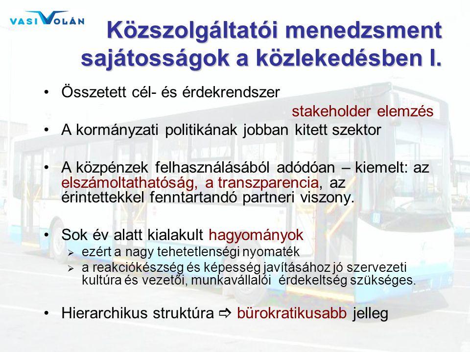 Közszolgáltatói menedzsment sajátosságok a közlekedésben I.