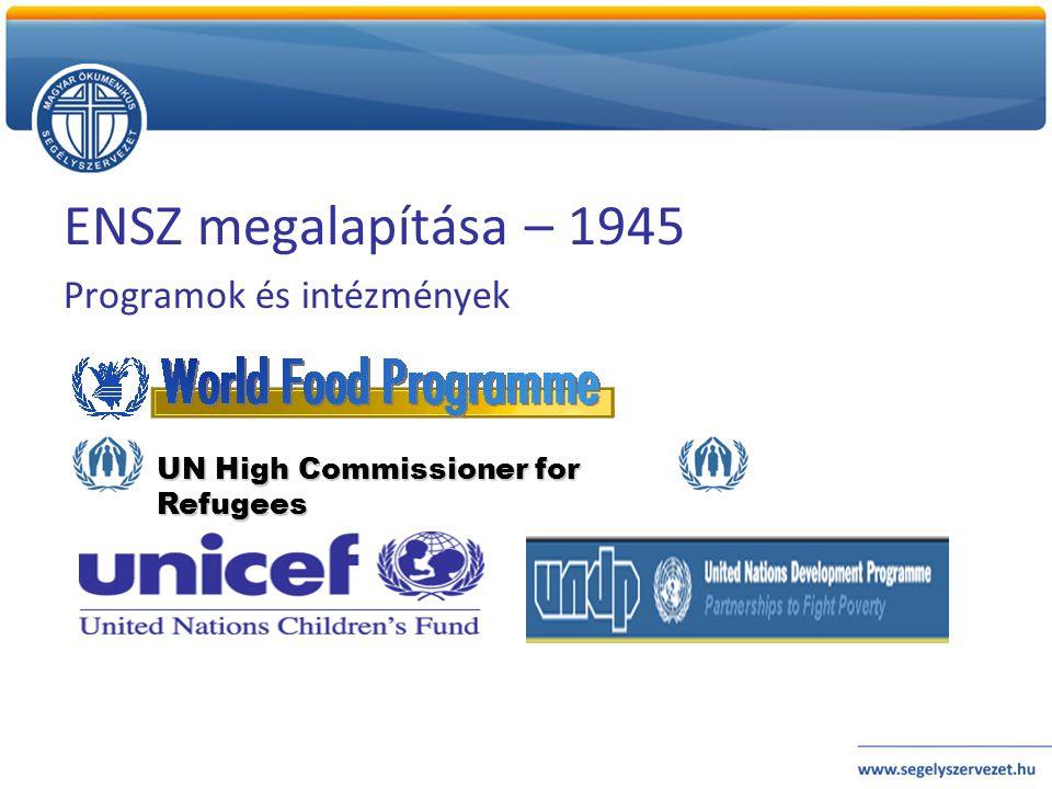 ENSZ megalapítása – 1945 Programok és intézmények
