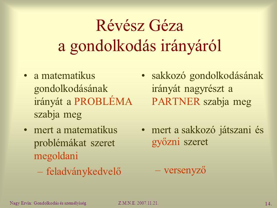 Révész Géza a gondolkodás irányáról