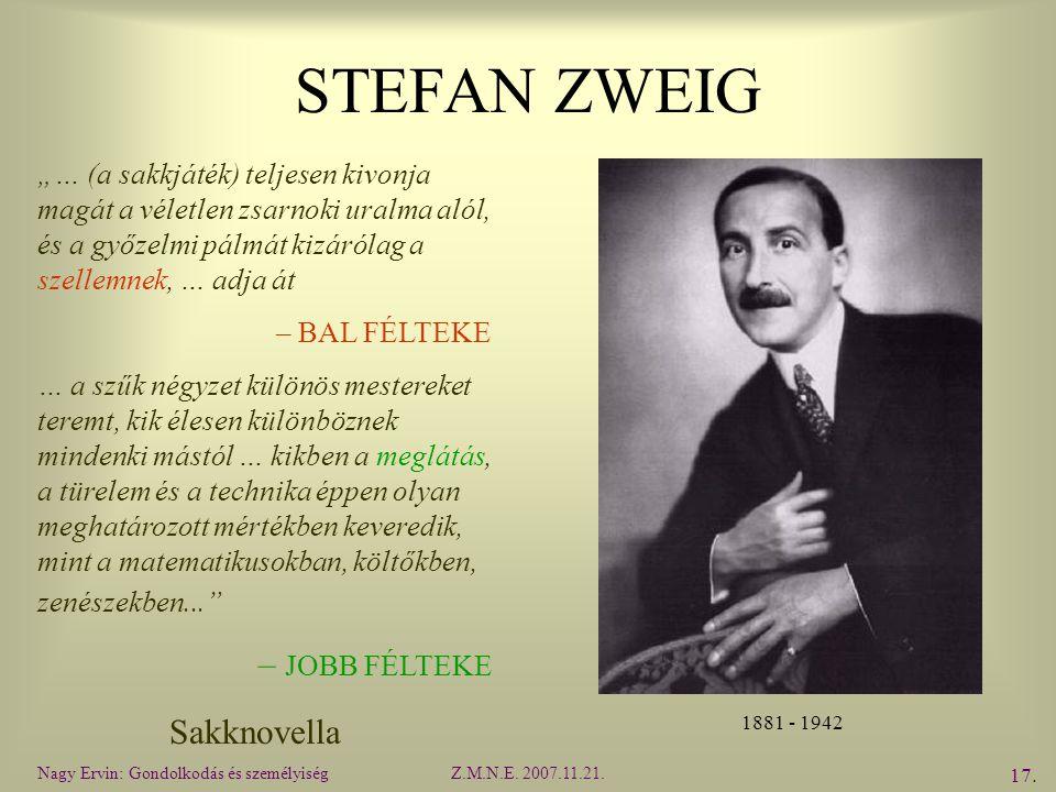 STEFAN ZWEIG – JOBB FÉLTEKE Sakknovella