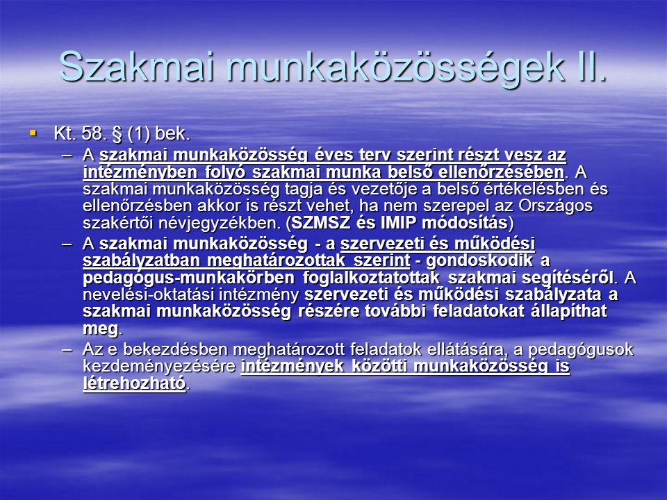 Szakmai munkaközösségek II.