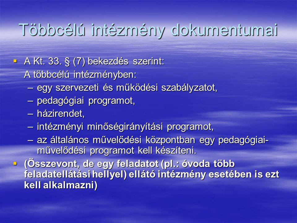 Többcélú intézmény dokumentumai