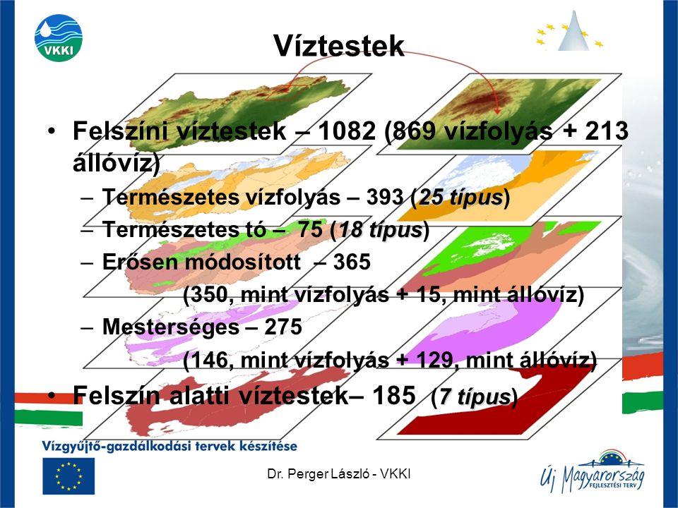 Víztestek Felszíni víztestek – 1082 (869 vízfolyás + 213 állóvíz)
