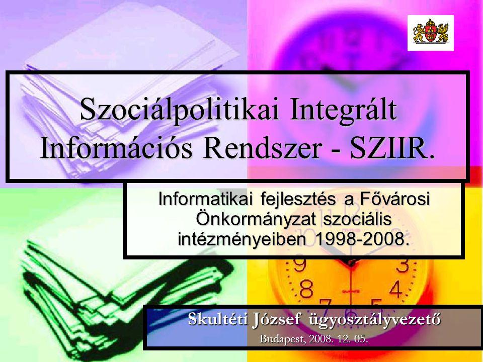 Szociálpolitikai Integrált Információs Rendszer - SZIIR.