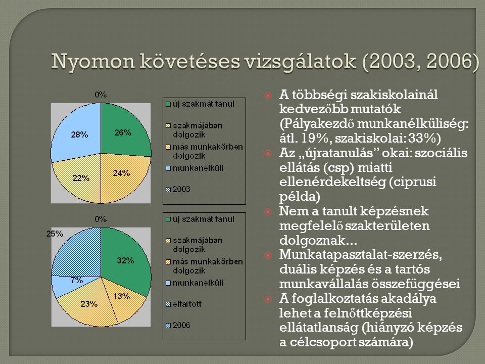Nyomon követéses vizsgálatok (2003, 2006)