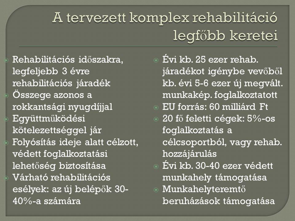A tervezett komplex rehabilitáció legfőbb keretei