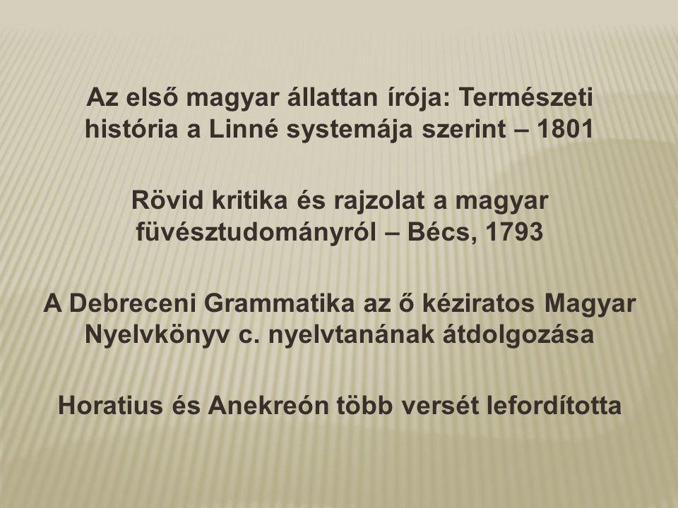 Rövid kritika és rajzolat a magyar füvésztudományról – Bécs, 1793