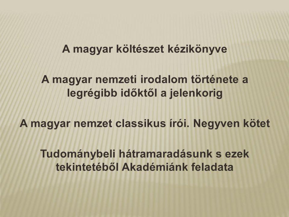 A magyar költészet kézikönyve