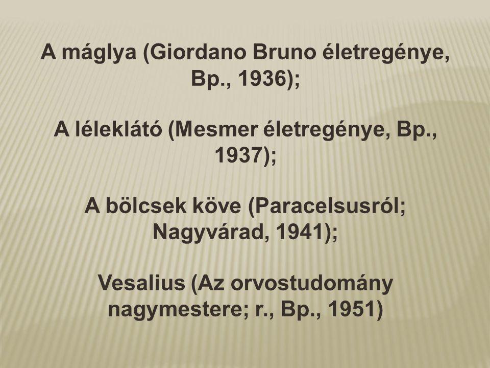 A máglya (Giordano Bruno életregénye, Bp., 1936);