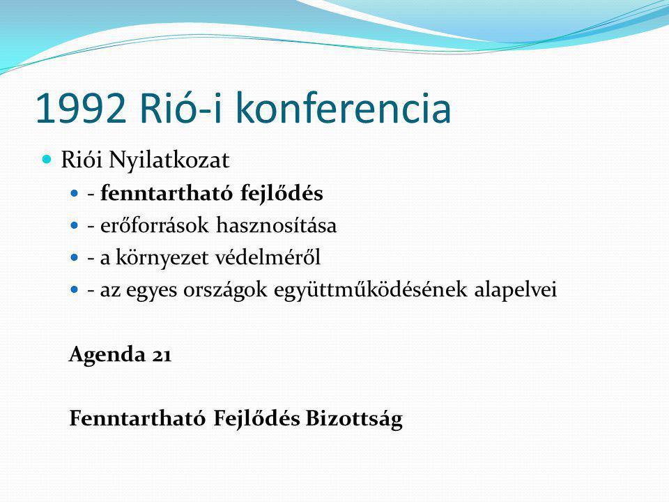 1992 Rió-i konferencia Riói Nyilatkozat - fenntartható fejlődés