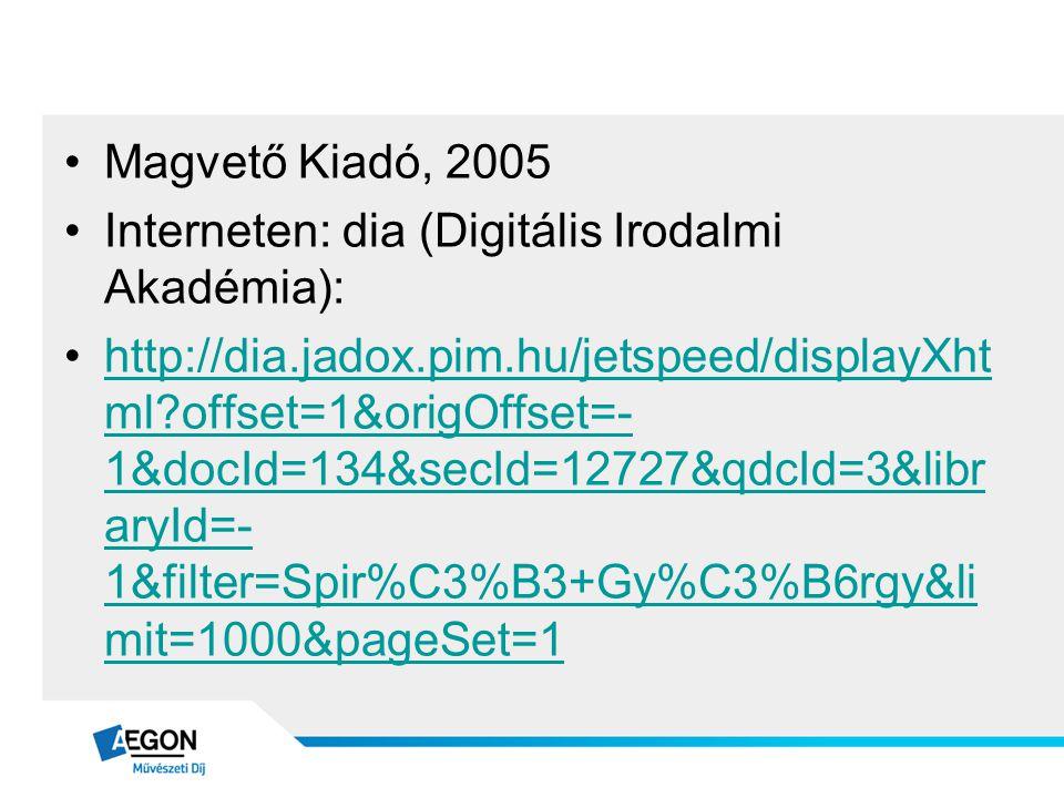 Magvető Kiadó, 2005 Interneten: dia (Digitális Irodalmi Akadémia):