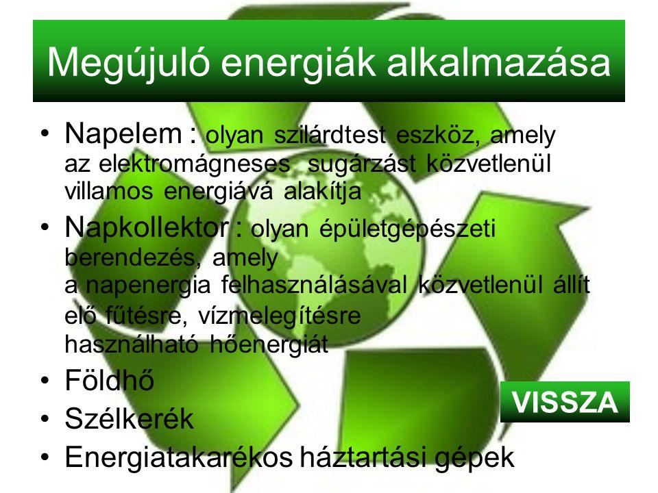 Megújuló energiák alkalmazása