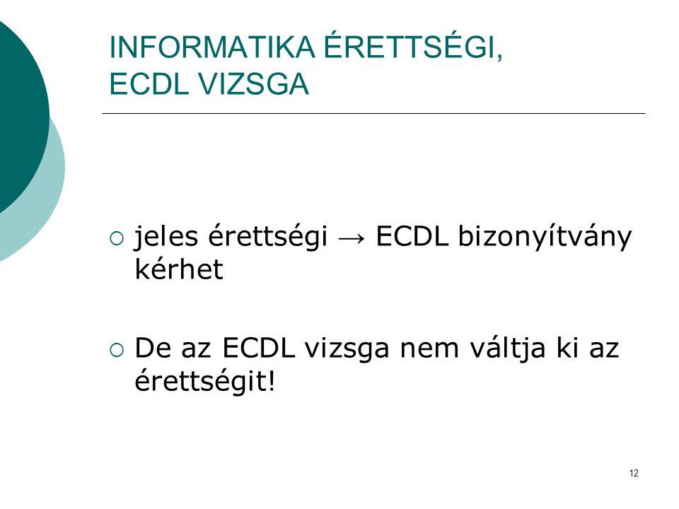 INFORMATIKA ÉRETTSÉGI, ECDL VIZSGA