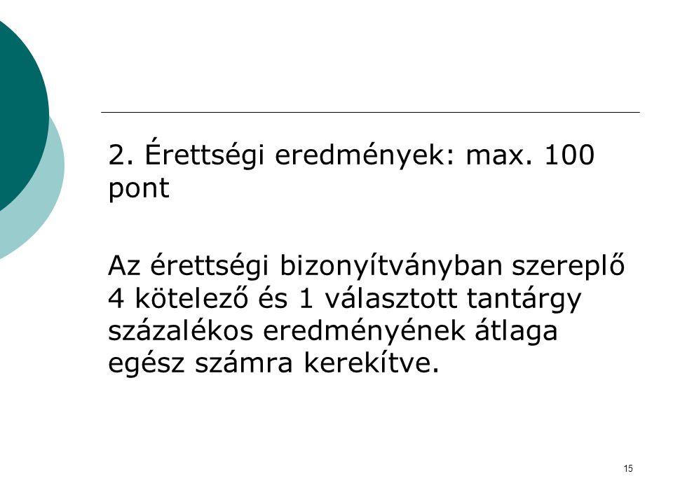 2. Érettségi eredmények: max. 100 pont