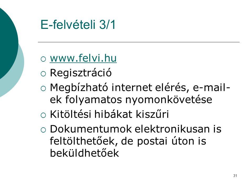 E-felvételi 3/1 www.felvi.hu Regisztráció