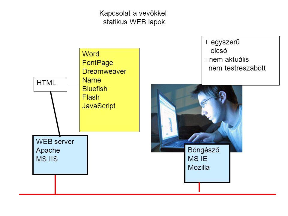 Kapcsolat a vevőkkel statikus WEB lapok. + egyszerű. olcsó. - nem aktuális. nem testreszabott. Word.