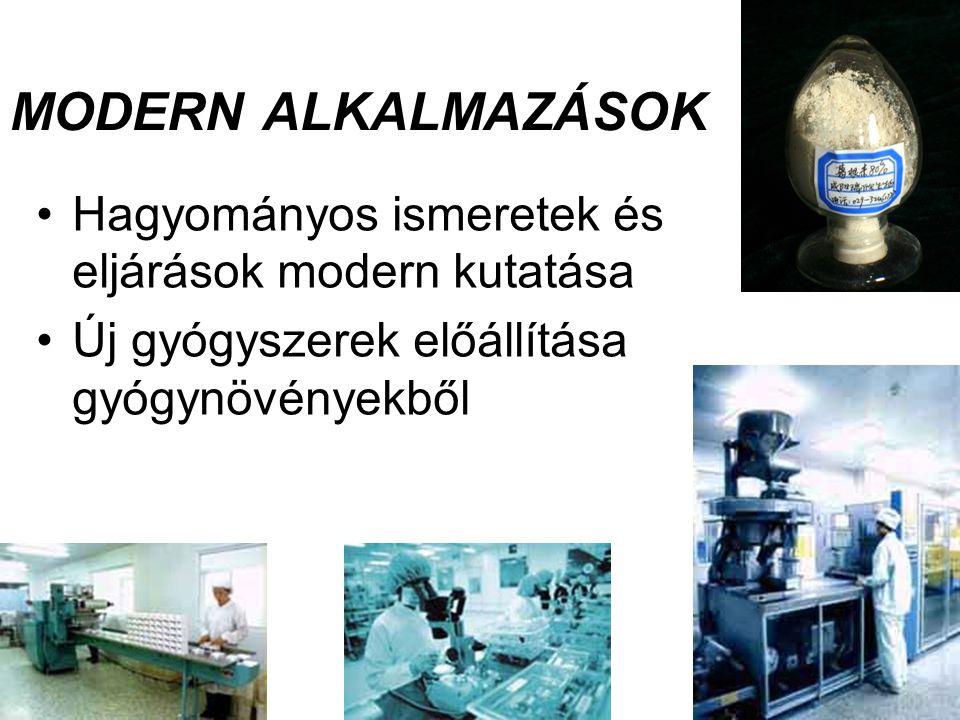 MODERN ALKALMAZÁSOK Hagyományos ismeretek és eljárások modern kutatása
