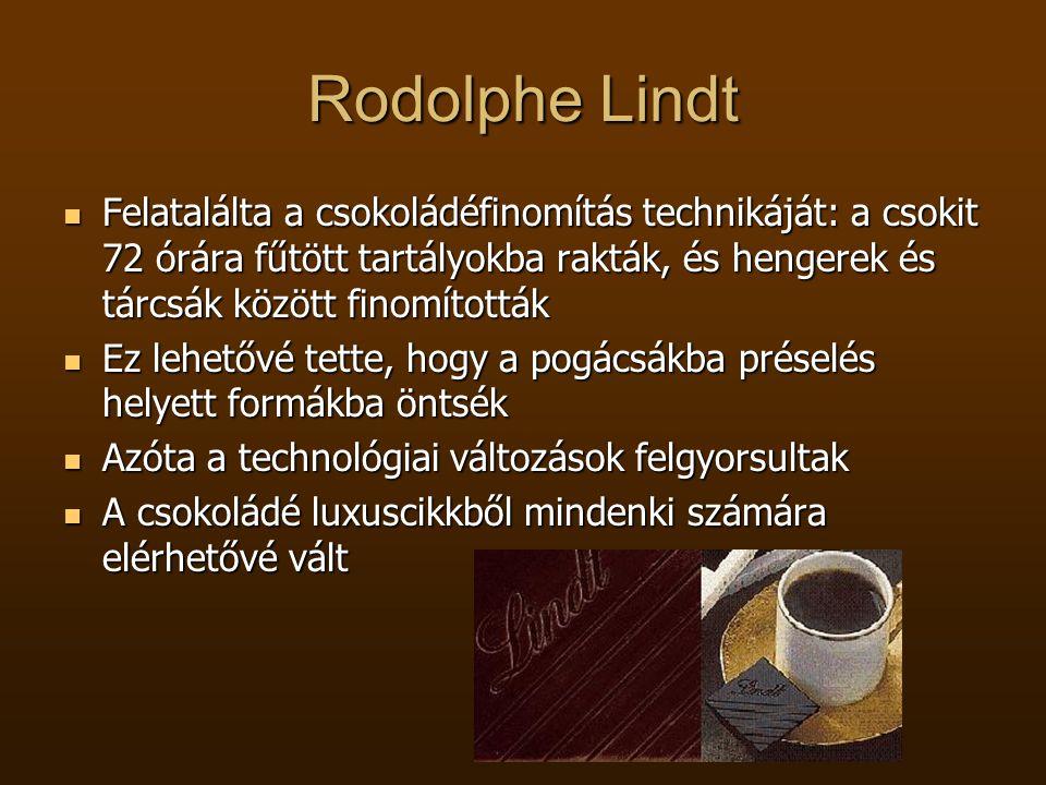 Rodolphe Lindt Felatalálta a csokoládéfinomítás technikáját: a csokit 72 órára fűtött tartályokba rakták, és hengerek és tárcsák között finomították.