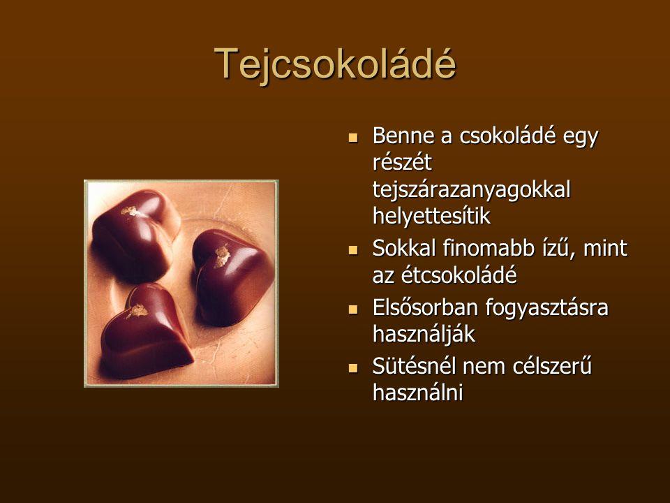 Tejcsokoládé Benne a csokoládé egy részét tejszárazanyagokkal helyettesítik. Sokkal finomabb ízű, mint az étcsokoládé.