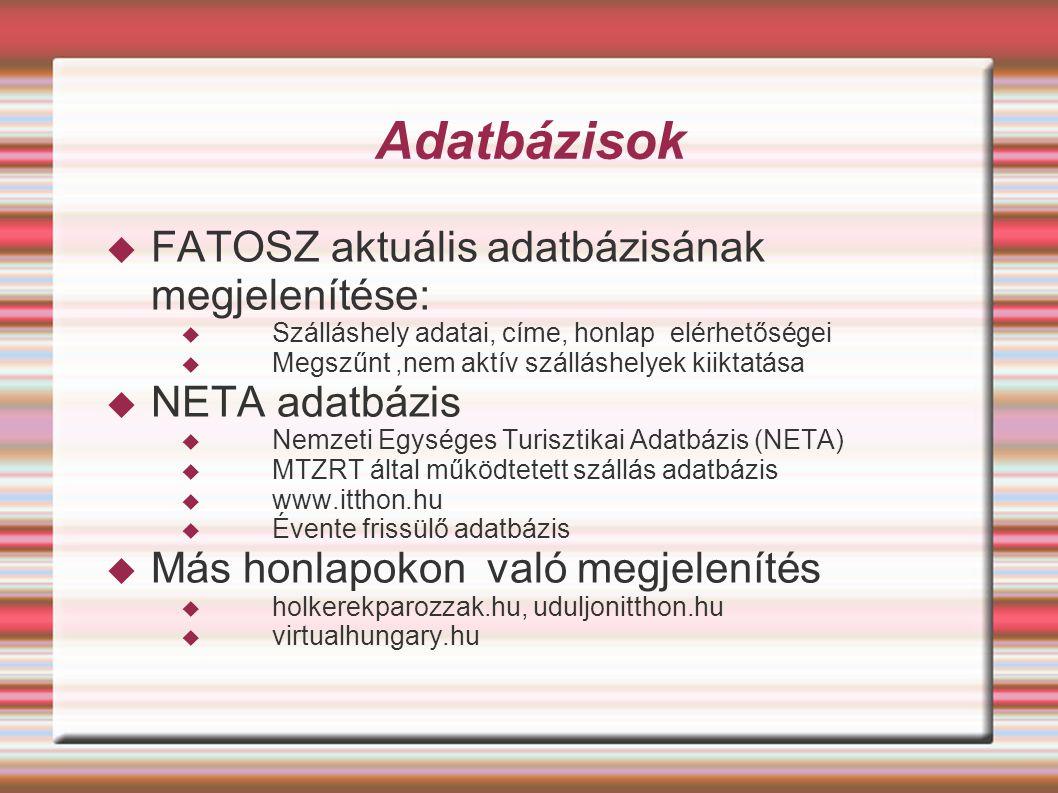 Adatbázisok FATOSZ aktuális adatbázisának megjelenítése: