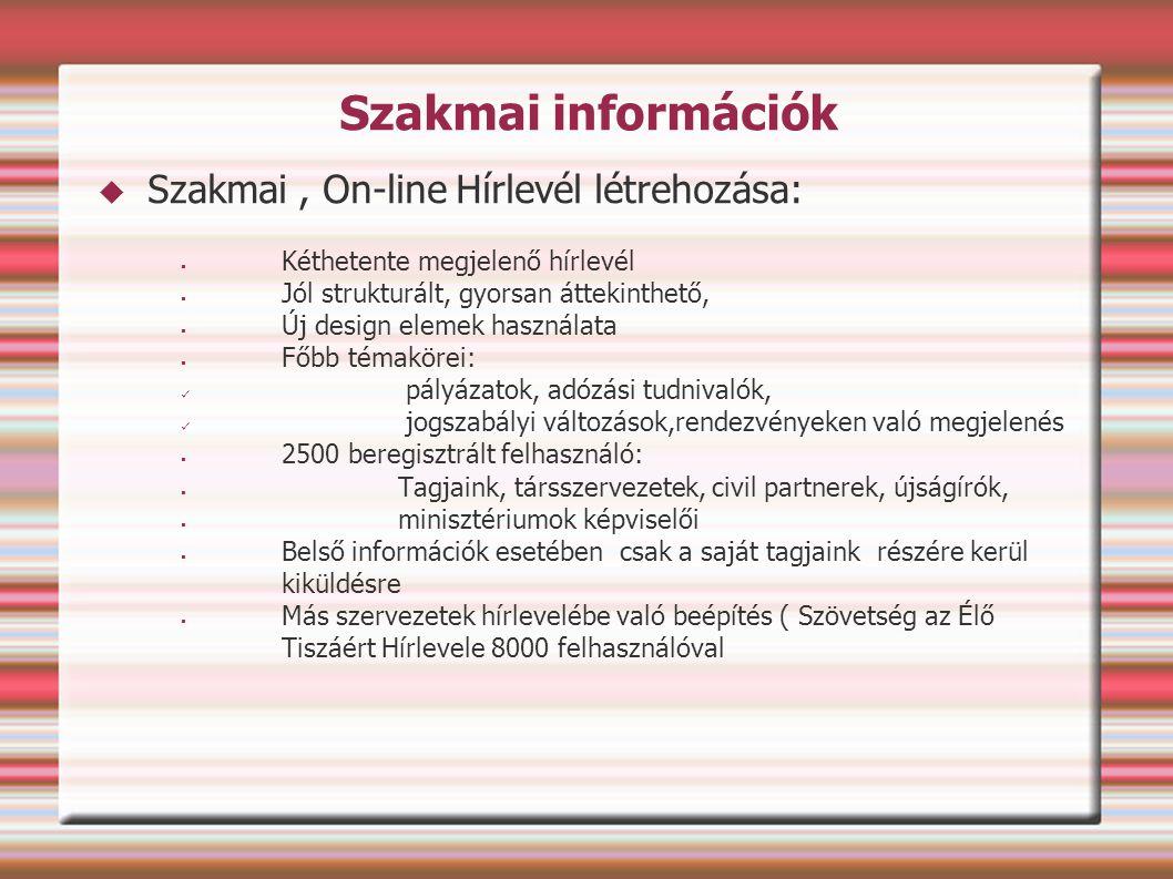 Szakmai információk Szakmai , On-line Hírlevél létrehozása: