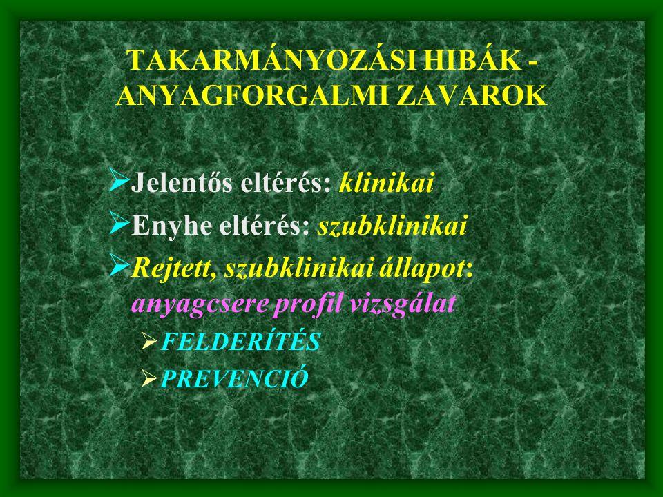 TAKARMÁNYOZÁSI HIBÁK -ANYAGFORGALMI ZAVAROK