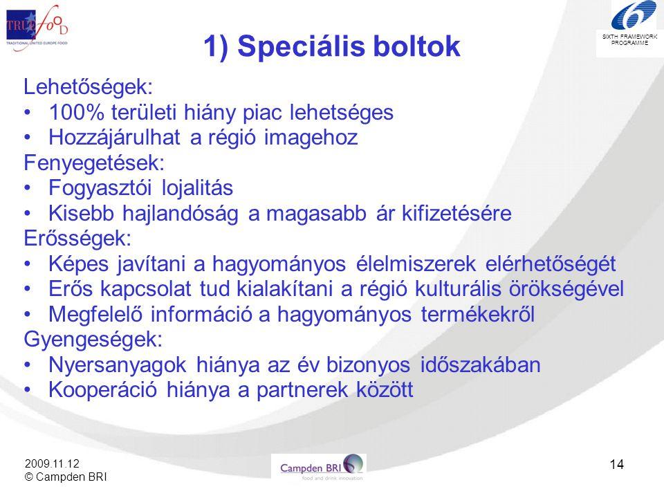 1) Speciális boltok Lehetőségek: 100% területi hiány piac lehetséges