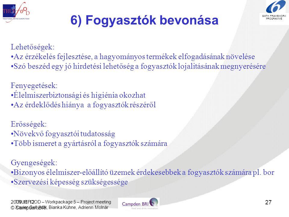 6) Fogyasztók bevonása Lehetőségek: