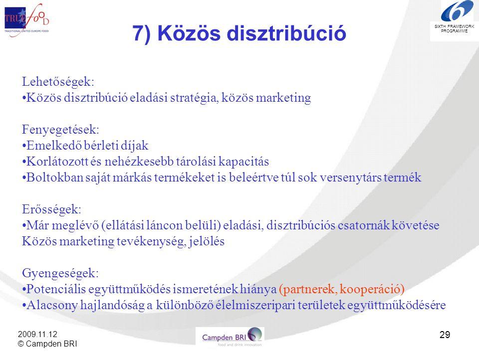 7) Közös disztribúció Lehetőségek: