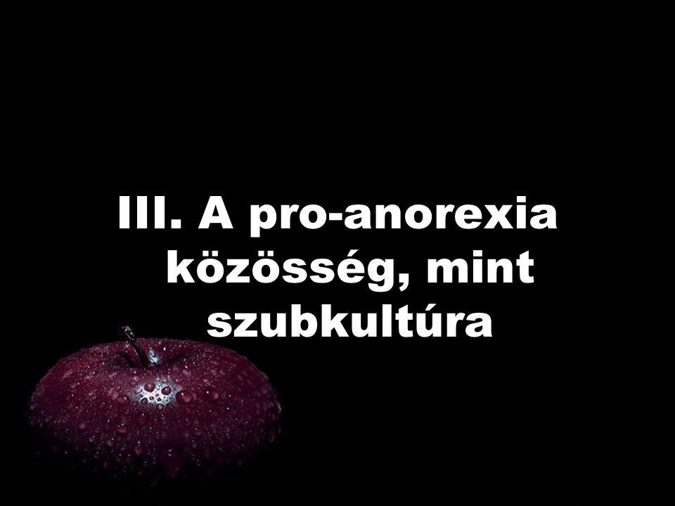 III. A pro-anorexia közösség, mint szubkultúra