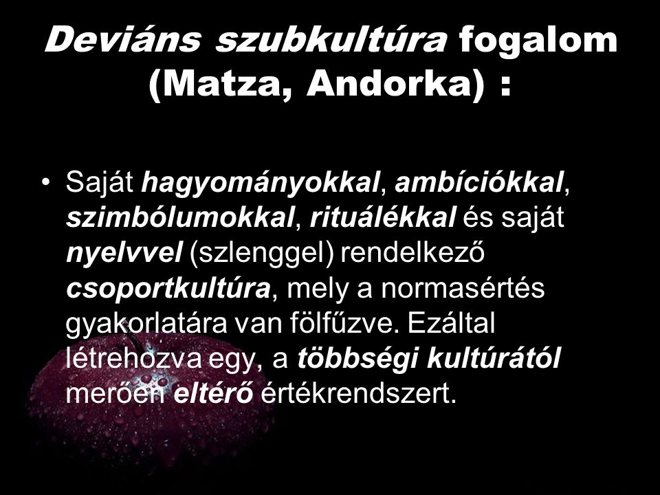 Deviáns szubkultúra fogalom (Matza, Andorka) :