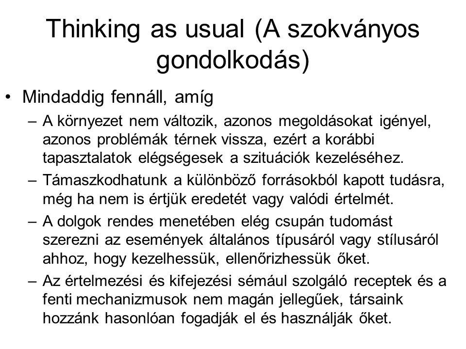 Thinking as usual (A szokványos gondolkodás)
