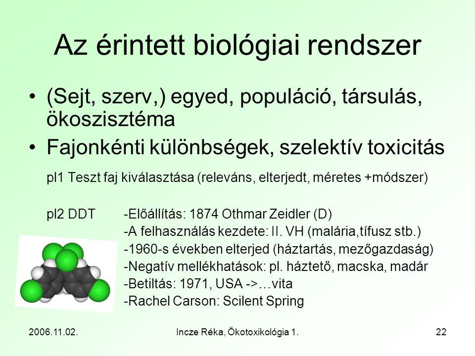 Az érintett biológiai rendszer