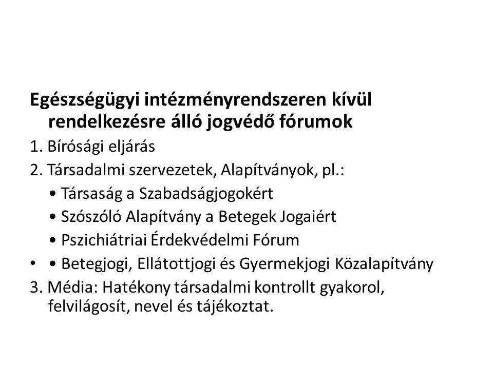 Egészségügyi intézményrendszeren kívül rendelkezésre álló jogvédő fórumok