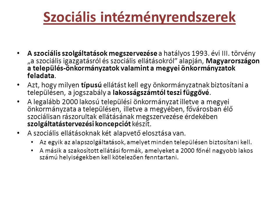 Szociális intézményrendszerek