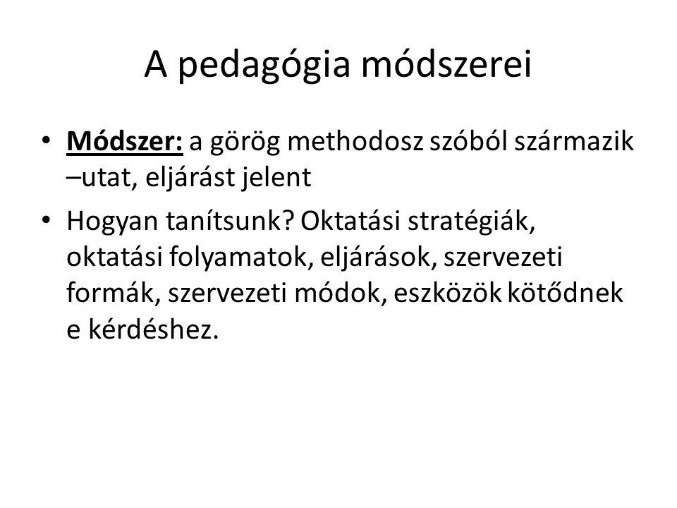 A pedagógia módszerei Módszer: a görög methodosz szóból származik –utat, eljárást jelent.