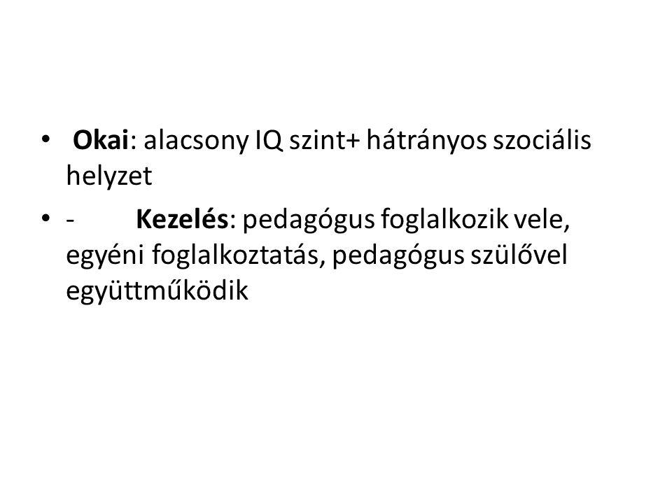 Okai: alacsony IQ szint+ hátrányos szociális helyzet