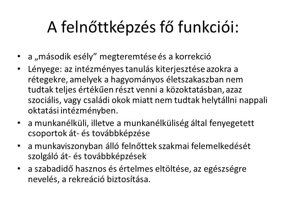 A felnőttképzés fő funkciói: