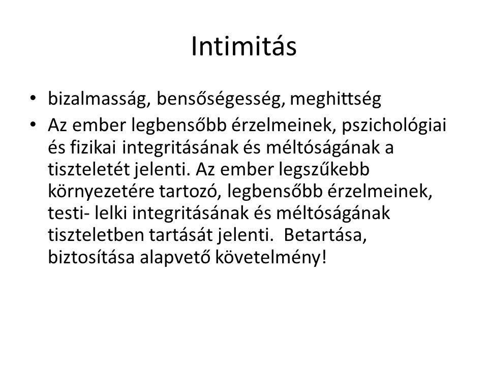 Intimitás bizalmasság, bensőségesség, meghittség