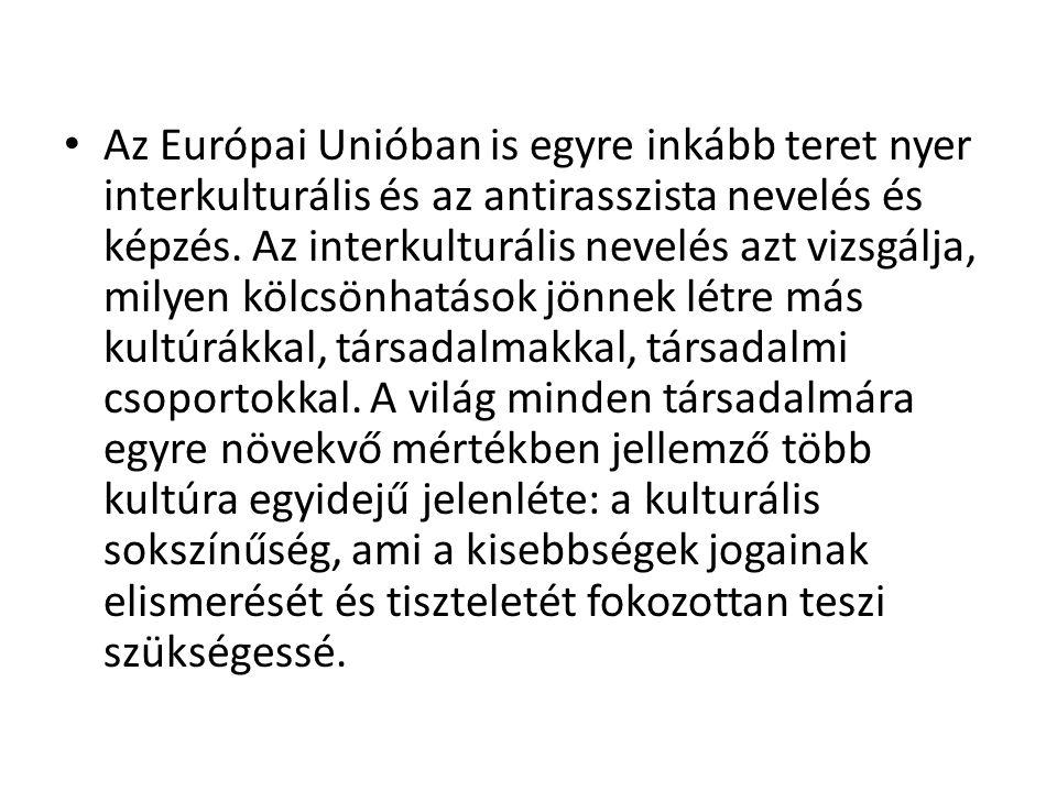 Az Európai Unióban is egyre inkább teret nyer interkulturális és az antirasszista nevelés és képzés.